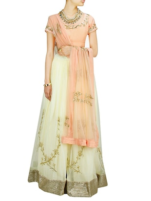 beige art silk embroidered lehenga -  online shopping for lehengas