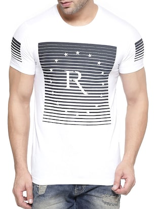 white cotton printed t-shirt