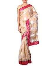 Beige Supernet Saree With Jacquard Aanchal - INDI WARDROBE