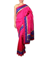 Pink Dupion Silk Saree With Patterned Border - INDI WARDROBE