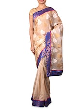Beige Supernet Saree With Patterned Border - By