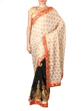 Black And Beige Embroidered Saree - By