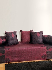 Set of 6 Pink and Blue Colour Ethnic Diwan Set with Bolster and Cushion Covers -  online shopping for diwan sets