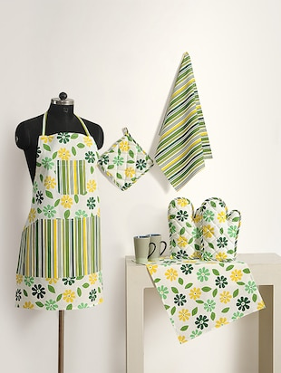 Set of 8 Yellow and Green Colour Mix n' Match Floral Cotton Kitchen