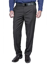 brown viscose flat front trousers formal -  online shopping for Formal Trousers