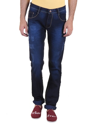 dark blue cotton washed jeans