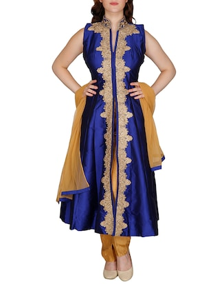Royal blue and beige semi-stitched suit set