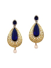 blue gold plated drop earring -  online shopping for earrings