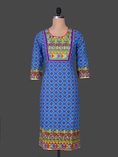 Round Neck Geometric Print Cotton Kurta - By