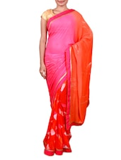 Pink And Orange Printed Georgette Saree - By