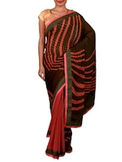 Pink And Green Printed Georgette Saree - By