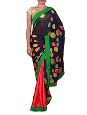 Pink And Blue Printed Georgette Saree - Inddus
