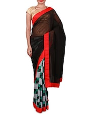 Grey And Black Printed Georgette Saree - Inddus