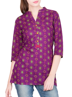 purple cotton straight kurti