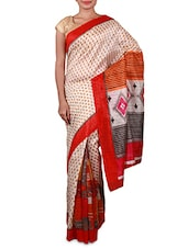 Off White Printed Cotton Silk Saree - Inddus