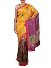 Yellow Printed Cotton Silk Saree - By
