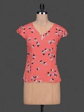Rose Printed Cap Sleeves Cotton Top - Citrine