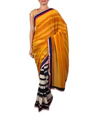 Yellow Printed Chiffon Saree - By