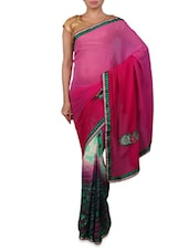 Pink Embroidered Designer Georgette Saree - Shonaya