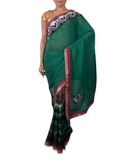 Green Embroidered Designer Georgette Saree - Shonaya