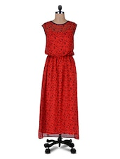 Red Printed  Poly Georgette Dress - By