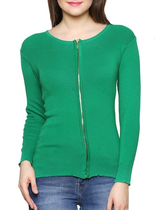 solid green cotton blend cardigan