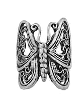 Silver Metallic Butterfly Statement Ring - By