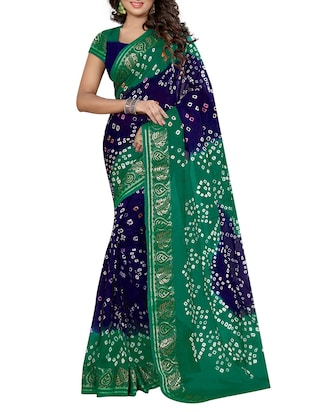 multi colored art silk bandhani saree