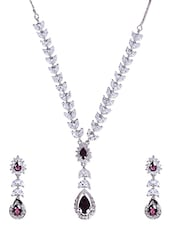 Maroon And White Rhodium Plated Necklace Set - By