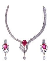 Pink And White Zirconia Necklace Set - By