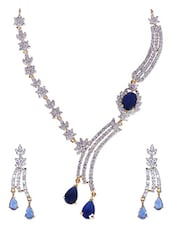Blue And White Gold Plated Necklace Set - By
