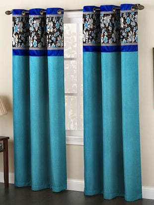 set of 2 blue polyester curtain