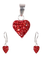 Red Heart Sterling Silver Pendant Set - JOHAREEZ.COM