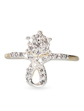 Zirconia Studded Gold Plated Flower Ring - By