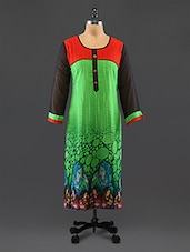 Green Printed Georgette Kurta - By