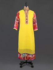 Yellow Embroidered Printed Georgette Kurta - By