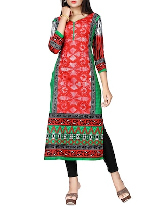 multi colored cotton printed unstitched kurta