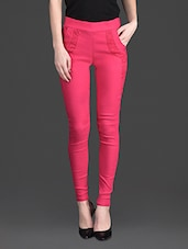 Solid Color Laced Pocket High Waist Pink Leggings - 10th Planet
