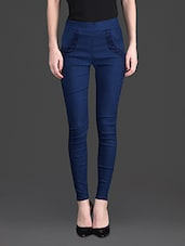 Solid Color Laced Pocket High Waist Blue Leggings - 10th Planet