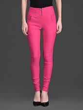 Solid Color Zip Opening High Waist Pink Legging - 10th Planet