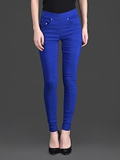 Solid Color Pocket High Waist Blue Legging - 10th Planet