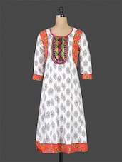 White Printed Flared Cotton Kurti - By