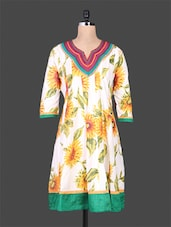 White Floral Printed Flared Cotton Kurti - By