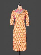Orange Floral Printed Collared Cotton Kurti - By