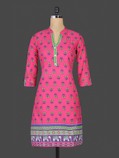 Pink Floral Printed Collared Cotton Kurti - By