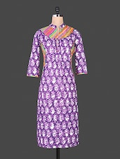 Purple Floral Printed Collared Cotton Kurti - By