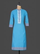 Blue Printed Closed Neck Cotton Kurti - By