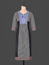Black And White Printed Cotton Kurti - Purvahi