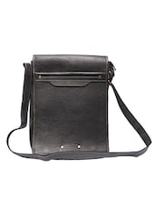 solid black leather sling bag -  online shopping for messengerbags