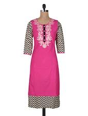 Pink Printed Embroidered Rayon Long Kurti - Vasudha
